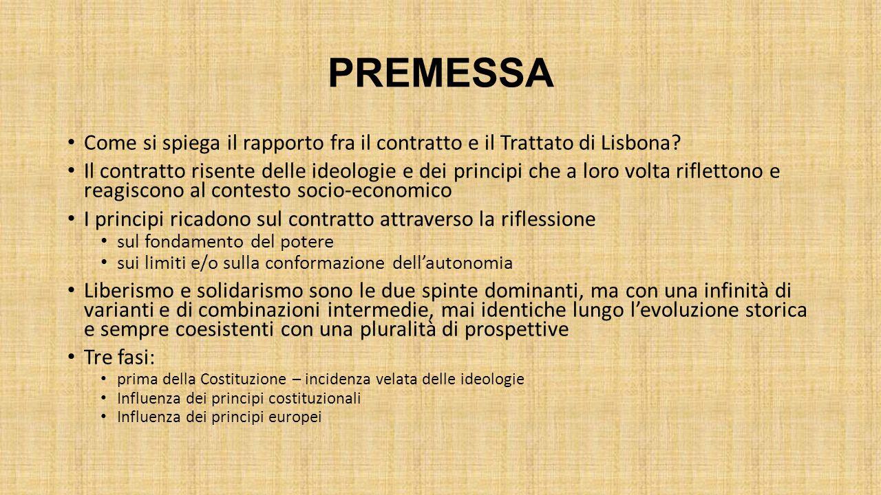 PREMESSA Come si spiega il rapporto fra il contratto e il Trattato di Lisbona