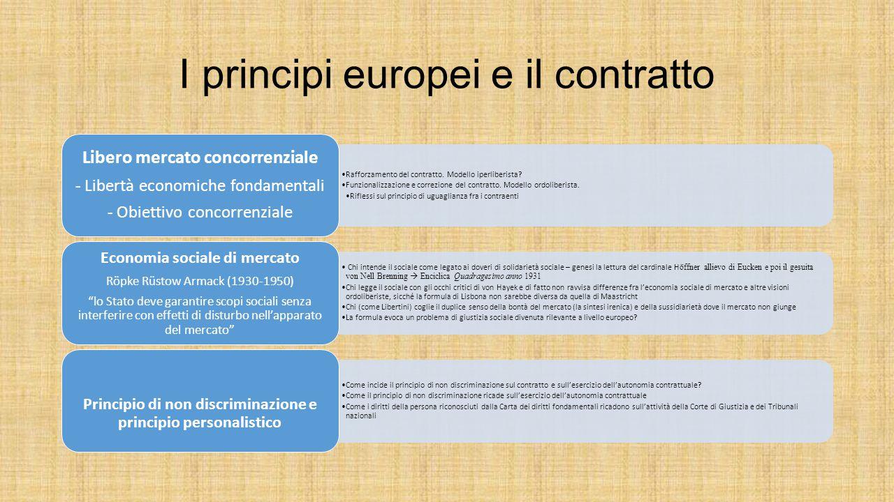 I principi europei e il contratto