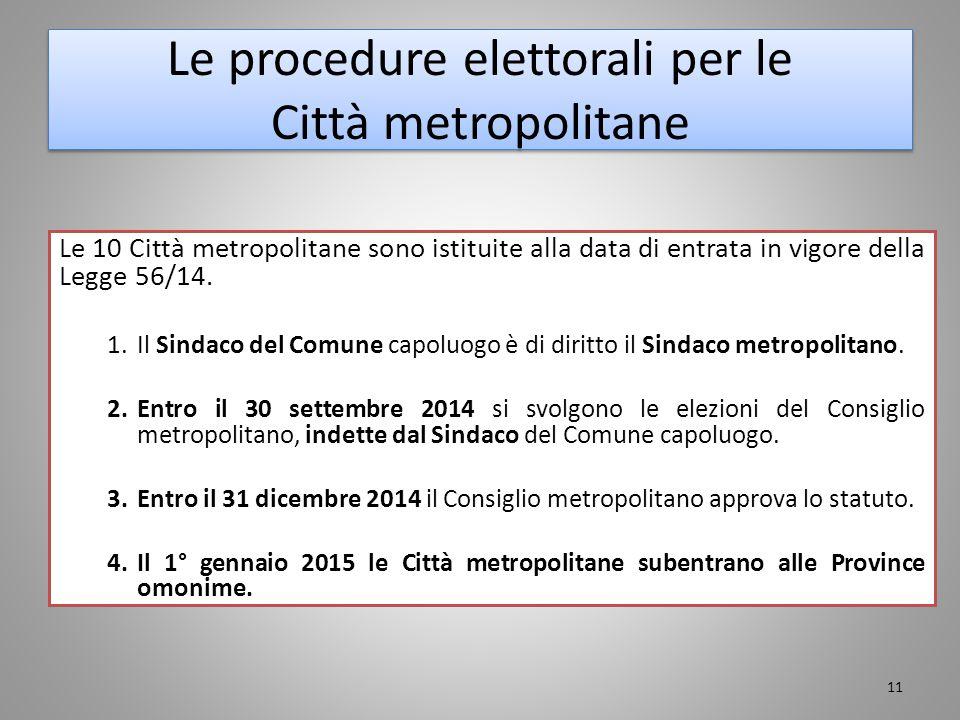 Le procedure elettorali per le Città metropolitane