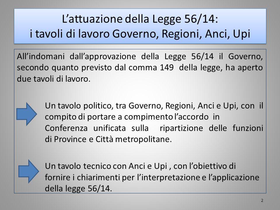 L'attuazione della Legge 56/14: i tavoli di lavoro Governo, Regioni, Anci, Upi