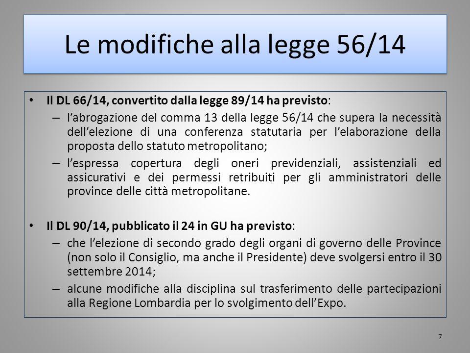 Le modifiche alla legge 56/14