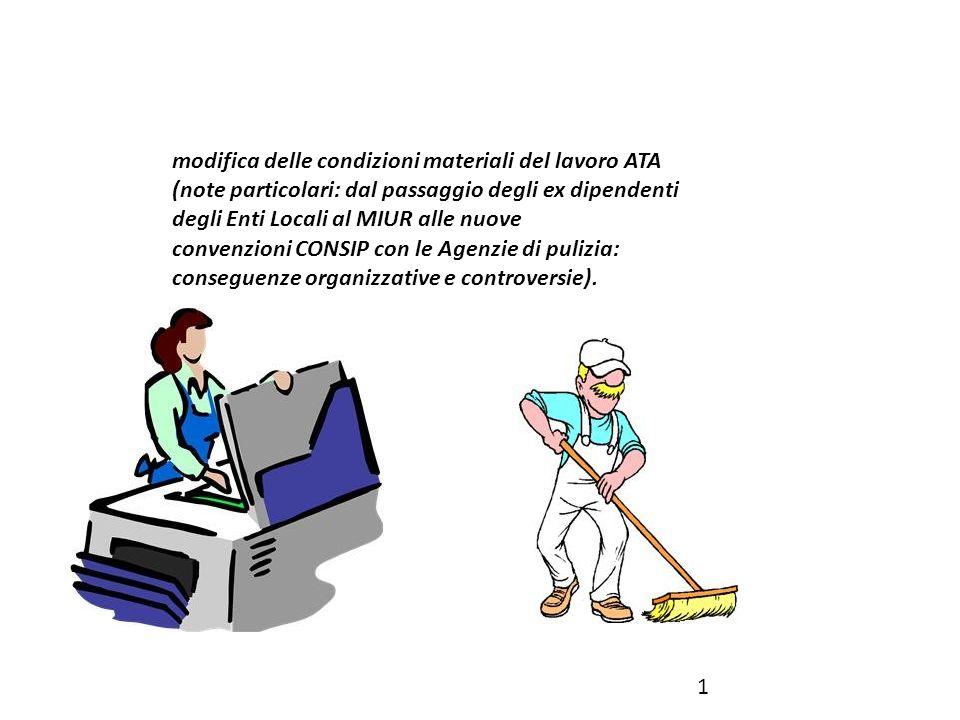modifica delle condizioni materiali del lavoro ATA (note particolari: dal passaggio degli ex dipendenti degli Enti Locali al MIUR alle nuove convenzioni CONSIP con le Agenzie di pulizia: conseguenze organizzative e controversie).
