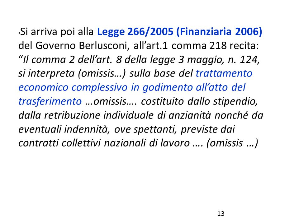 Si arriva poi alla Legge 266/2005 (Finanziaria 2006) del Governo Berlusconi, all'art.1 comma 218 recita: Il comma 2 dell'art.