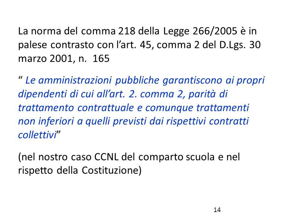 La norma del comma 218 della Legge 266/2005 è in palese contrasto con l'art. 45, comma 2 del D.Lgs. 30 marzo 2001, n. 165