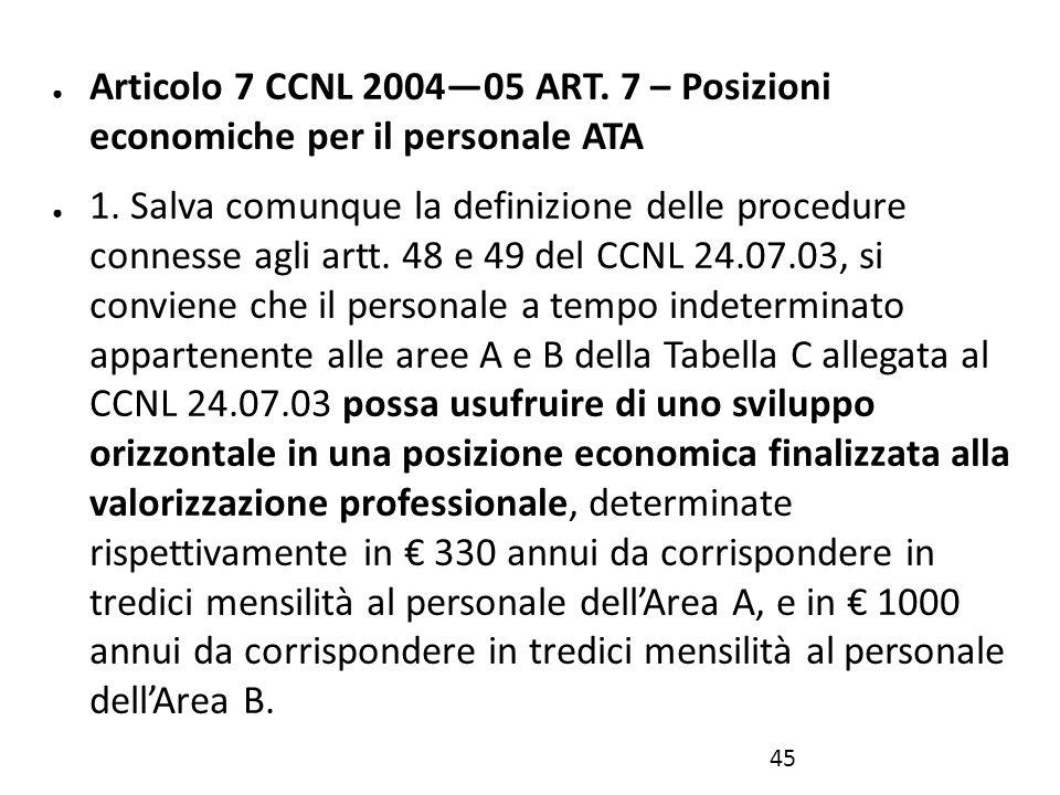 Articolo 7 CCNL 2004—05 ART. 7 – Posizioni economiche per il personale ATA