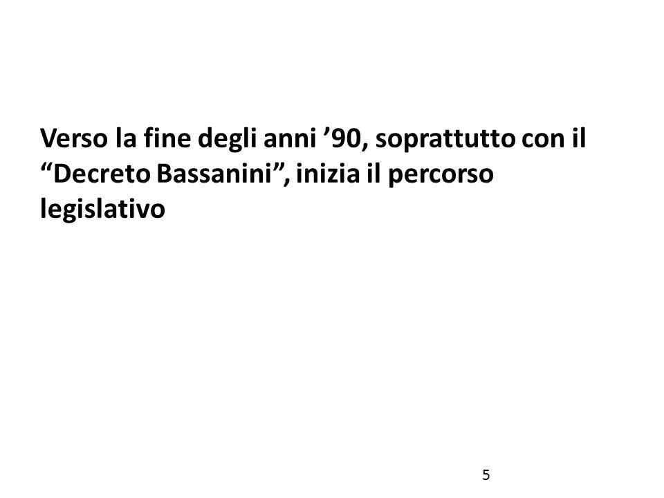 Verso la fine degli anni '90, soprattutto con il Decreto Bassanini , inizia il percorso legislativo