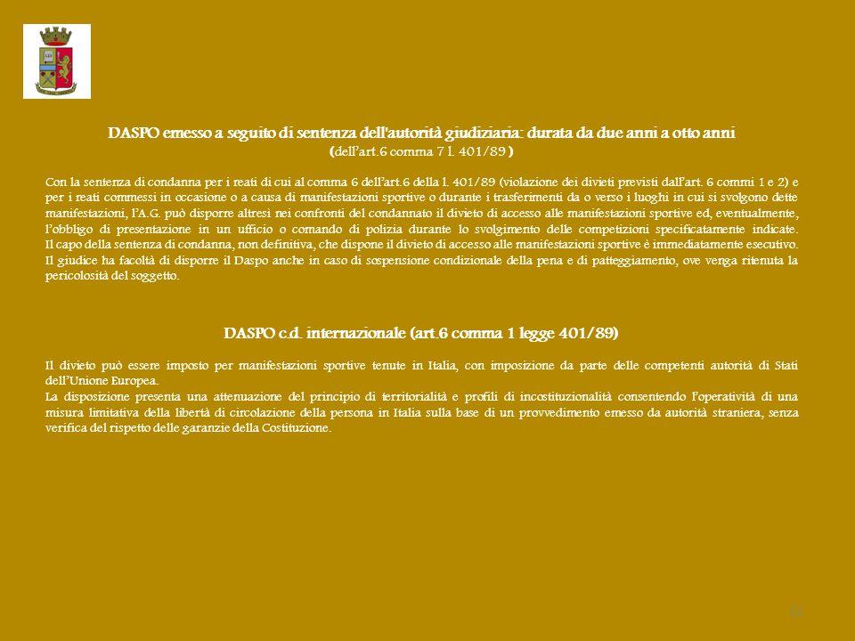 DASPO c.d. internazionale (art.6 comma 1 legge 401/89)