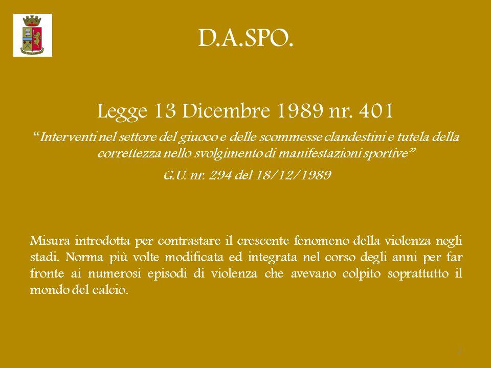 D.A.SPO. Legge 13 Dicembre 1989 nr. 401