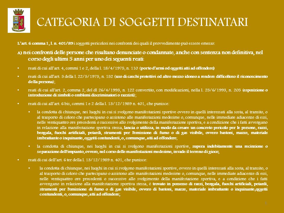 CATEGORIA DI SOGGETTI DESTINATARI