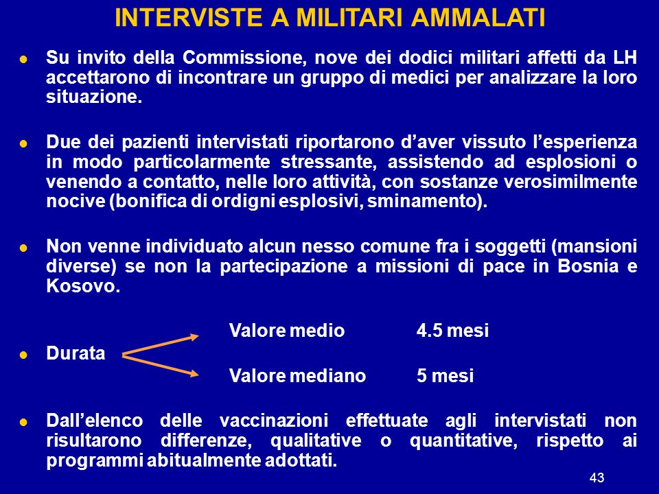 INTERVISTE A MILITARI AMMALATI