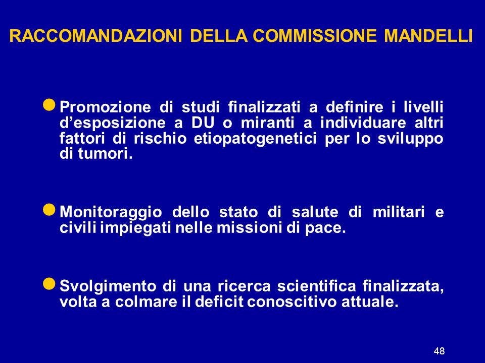 RACCOMANDAZIONI DELLA COMMISSIONE MANDELLI