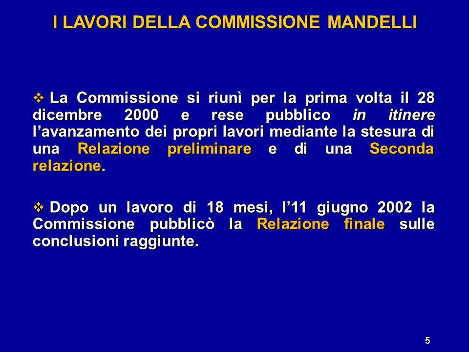 I LAVORI DELLA COMMISSIONE MANDELLI