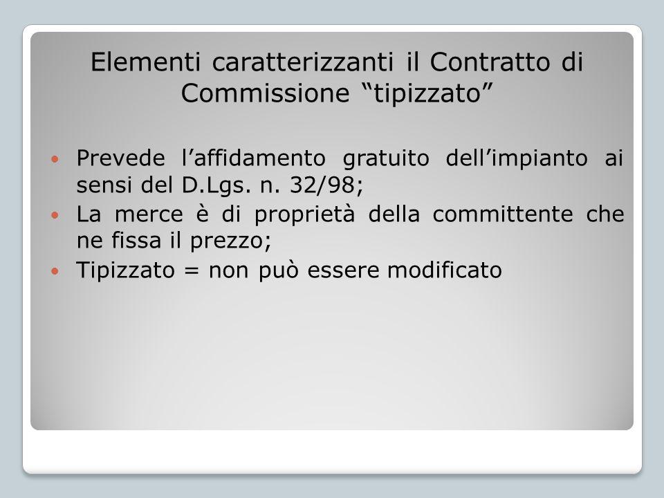 Elementi caratterizzanti il Contratto di Commissione tipizzato