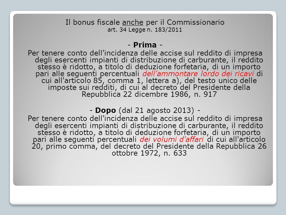 Il bonus fiscale anche per il Commissionario