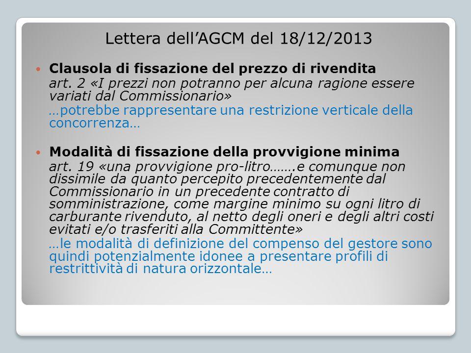 Lettera dell'AGCM del 18/12/2013