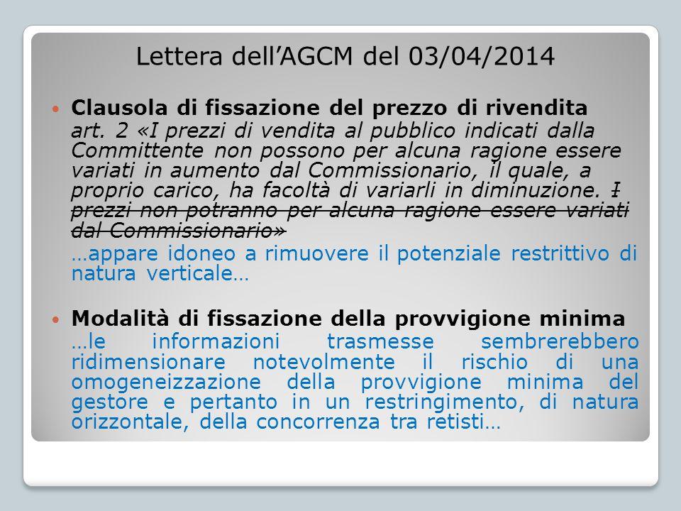 Lettera dell'AGCM del 03/04/2014