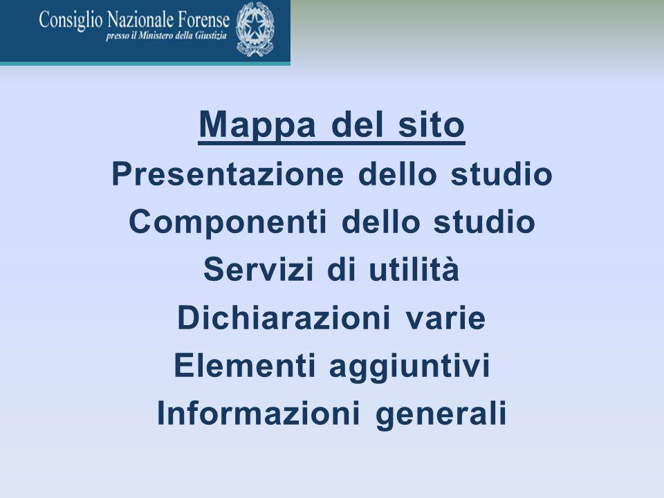 Mappa del sito Presentazione dello studio Componenti dello studio
