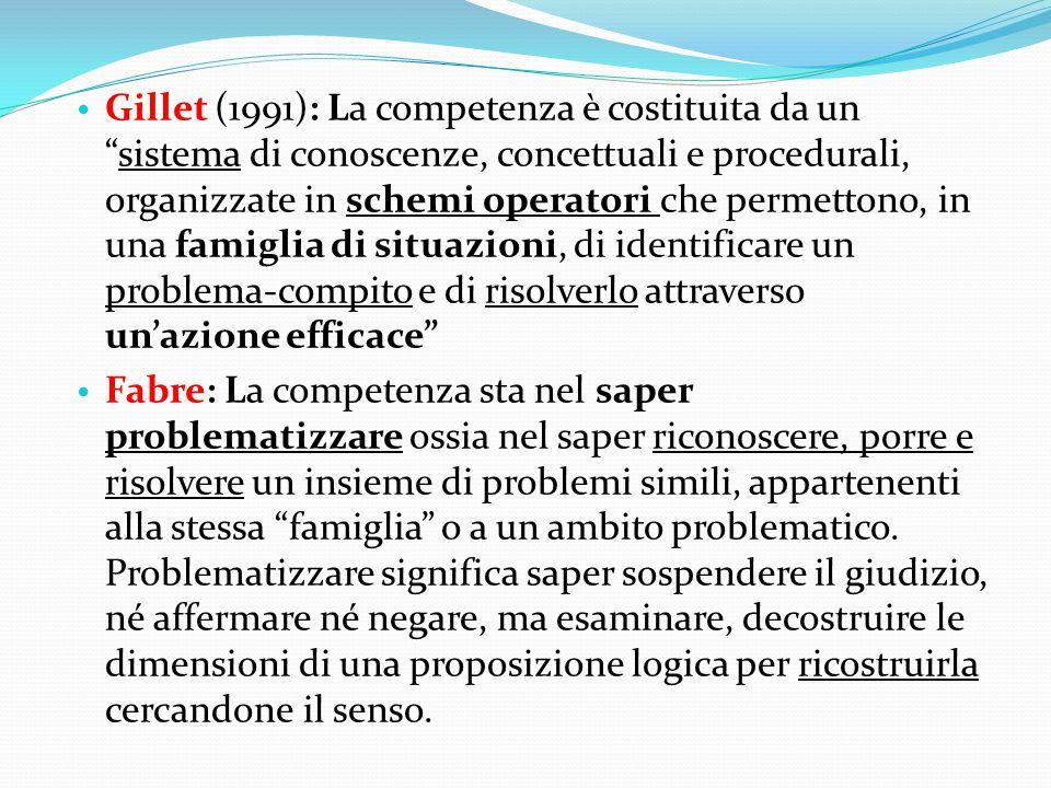 Gillet (1991): La competenza è costituita da un sistema di conoscenze, concettuali e procedurali, organizzate in schemi operatori che permettono, in una famiglia di situazioni, di identificare un problema-compito e di risolverlo attraverso un'azione efficace