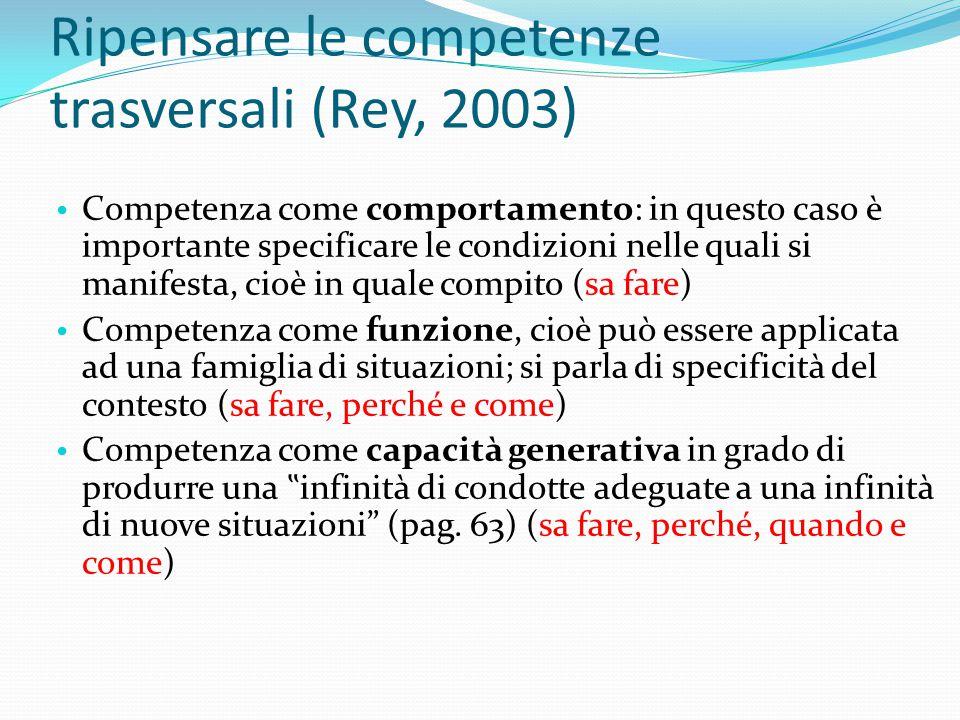 Ripensare le competenze trasversali (Rey, 2003)