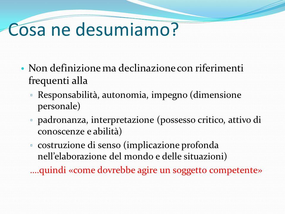 Cosa ne desumiamo Non definizione ma declinazione con riferimenti frequenti alla. Responsabilità, autonomia, impegno (dimensione personale)