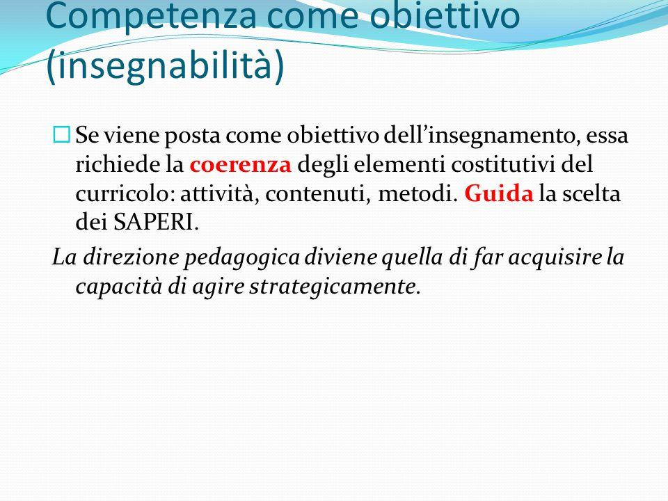 Competenza come obiettivo (insegnabilità)