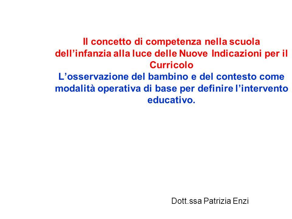 Il concetto di competenza nella scuola dell'infanzia alla luce delle Nuove Indicazioni per il Curricolo L'osservazione del bambino e del contesto come modalità operativa di base per definire l'intervento educativo.