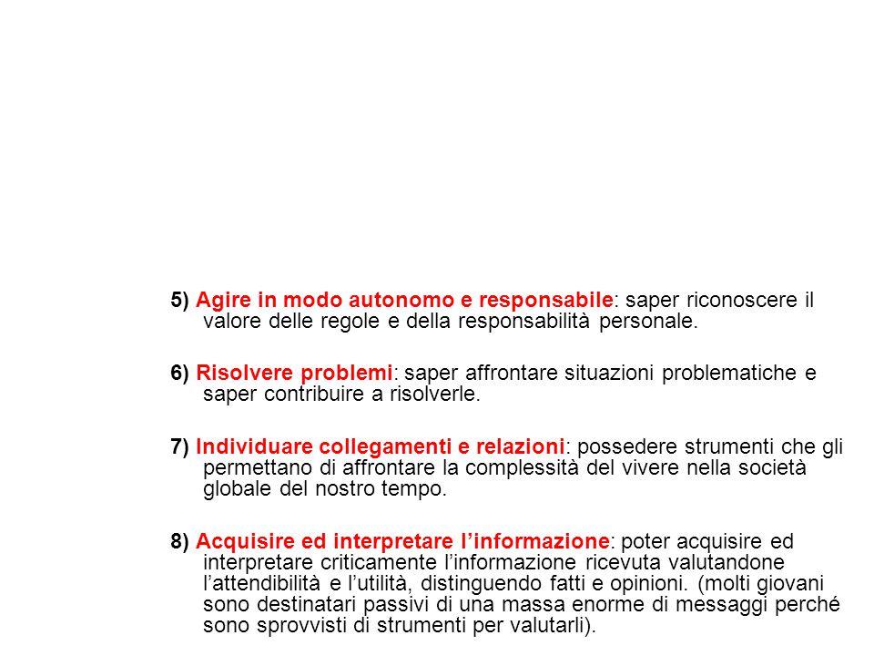 5) Agire in modo autonomo e responsabile: saper riconoscere il valore delle regole e della responsabilità personale.