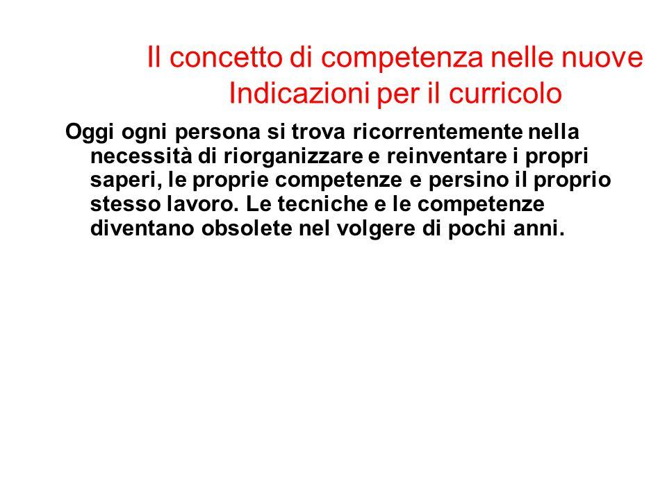 Il concetto di competenza nelle nuove Indicazioni per il curricolo
