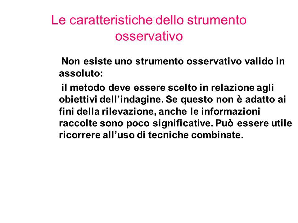 Le caratteristiche dello strumento osservativo