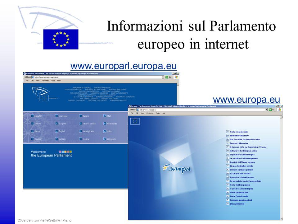 Informazioni sul Parlamento europeo in internet