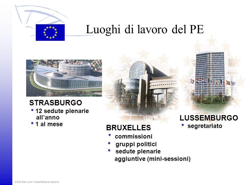 Luoghi di lavoro del PE STRASBURGO LUSSEMBURGO BRUXELLES commissioni