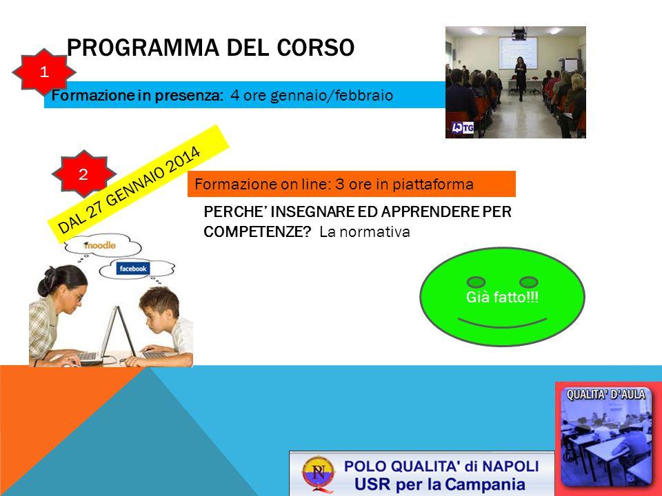Programma del corso 1 Formazione in presenza: 4 ore gennaio/febbraio