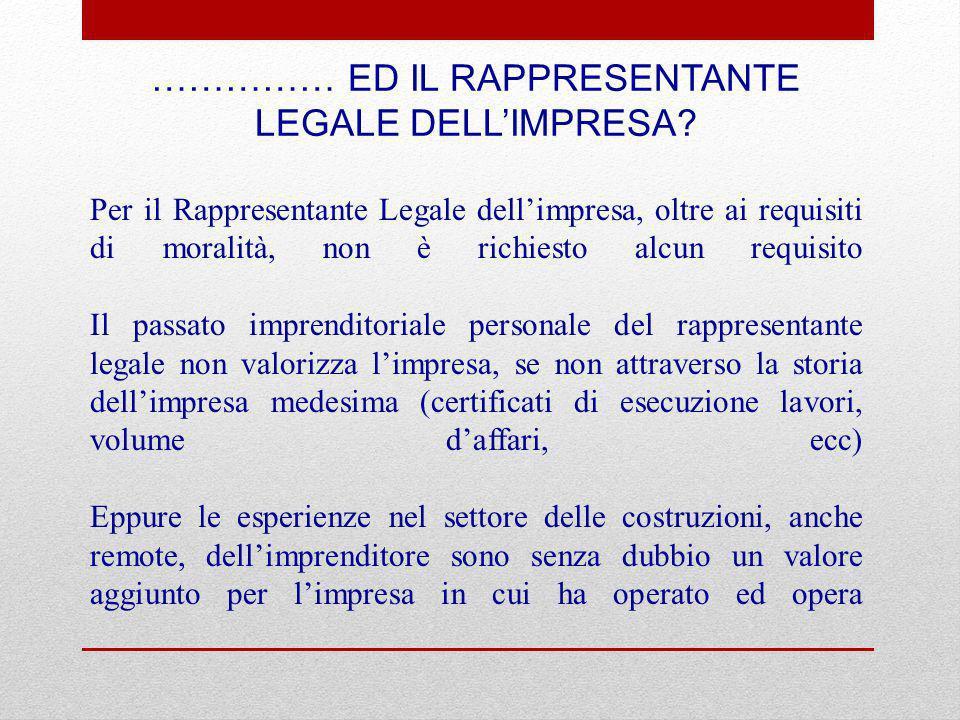 …………… ED IL RAPPRESENTANTE LEGALE DELL'IMPRESA