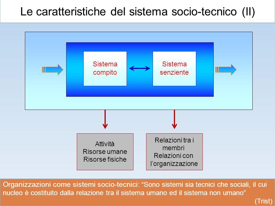 Le caratteristiche del sistema socio-tecnico (II)