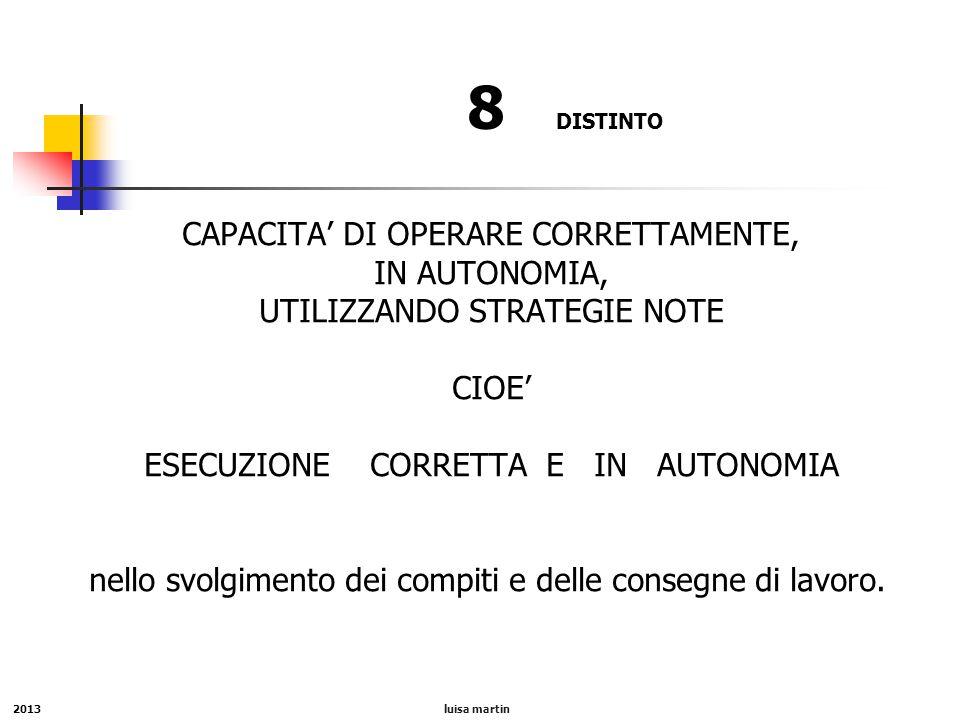 8 DISTINTO CAPACITA' DI OPERARE CORRETTAMENTE, IN AUTONOMIA,
