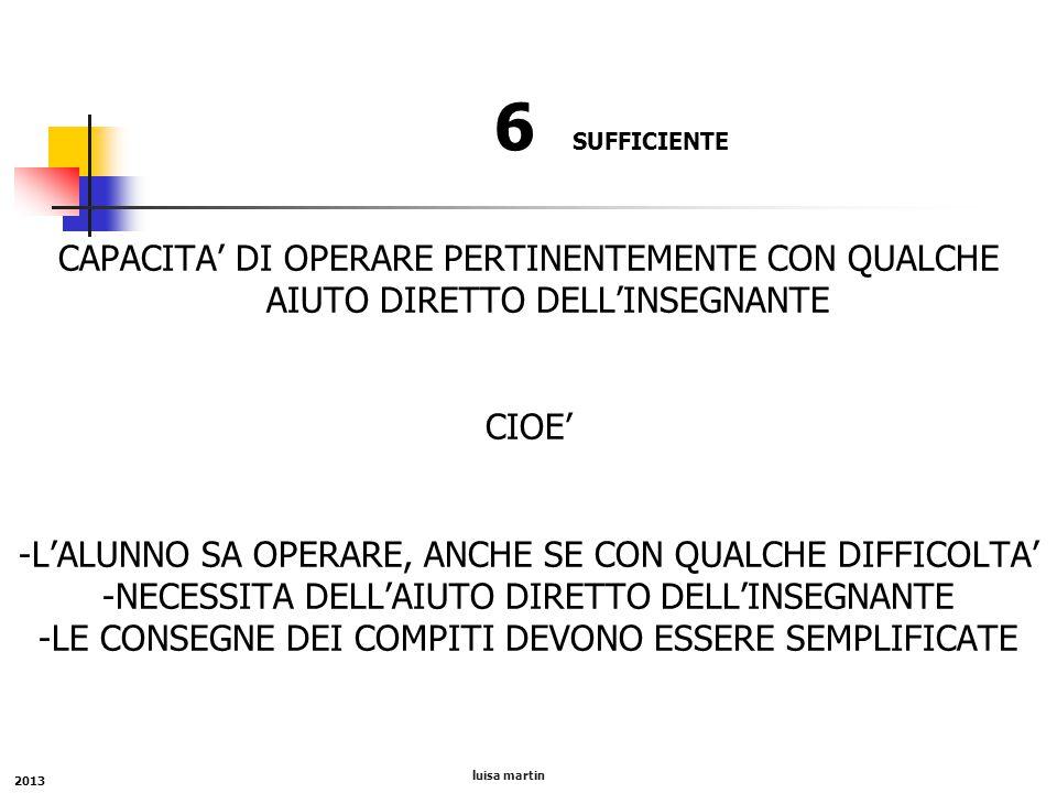6 SUFFICIENTE CAPACITA' DI OPERARE PERTINENTEMENTE CON QUALCHE AIUTO DIRETTO DELL'INSEGNANTE. CIOE'