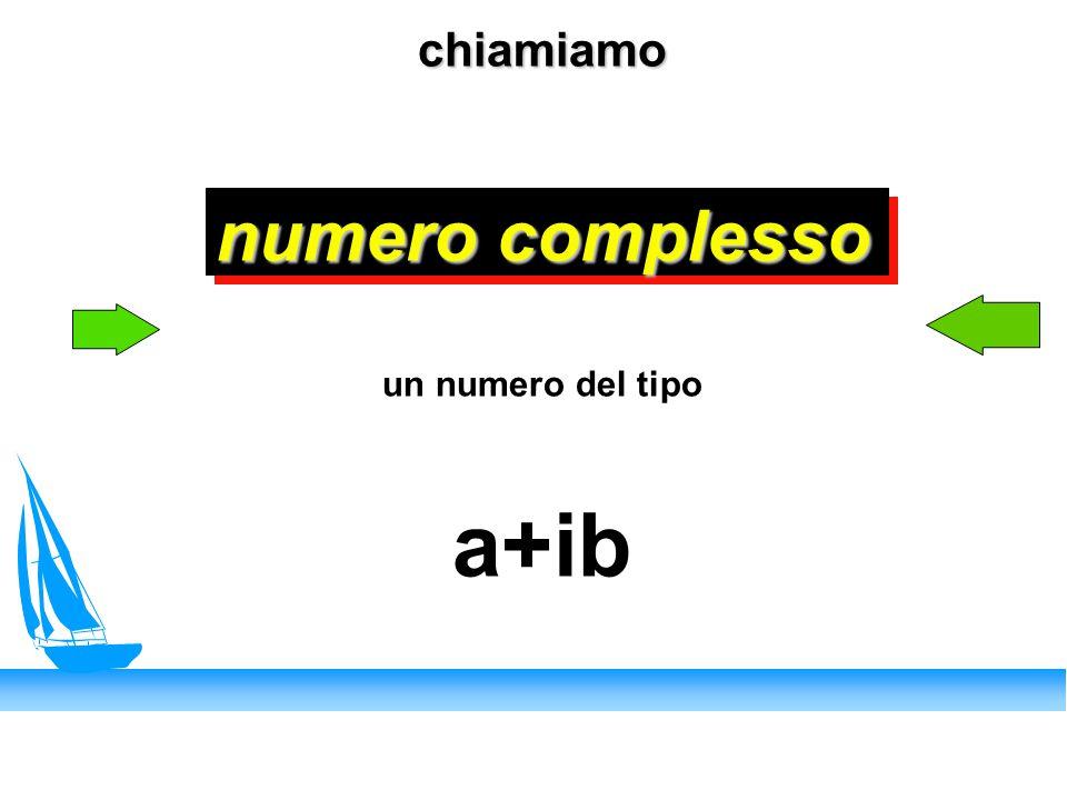 chiamiamo numero complesso un numero del tipo a+ib