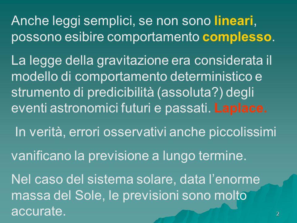 Anche leggi semplici, se non sono lineari, possono esibire comportamento complesso.