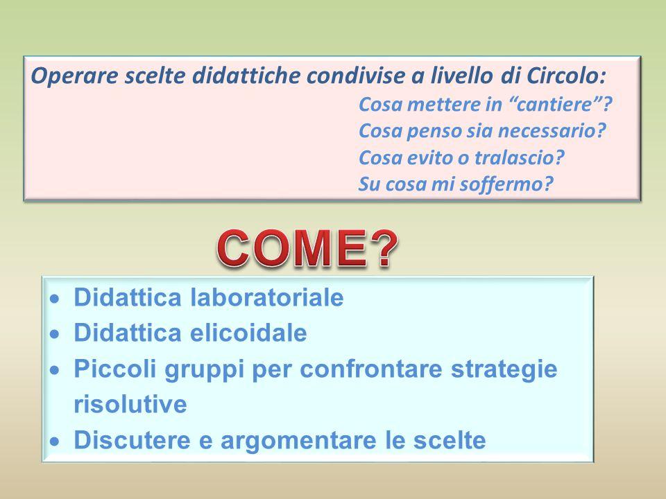 COME Operare scelte didattiche condivise a livello di Circolo: