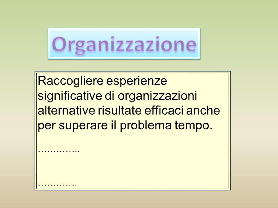 Organizzazione Raccogliere esperienze significative di organizzazioni alternative risultate efficaci anche per superare il problema tempo.