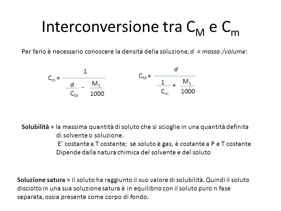 Interconversione tra CM e Cm