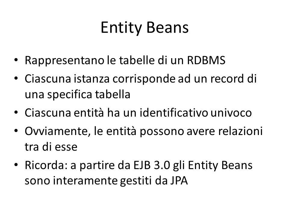 Entity Beans Rappresentano le tabelle di un RDBMS