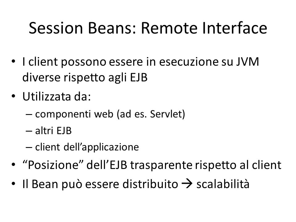 Session Beans: Remote Interface