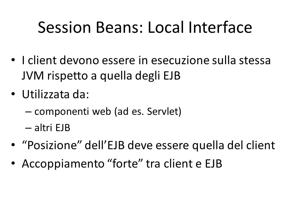 Session Beans: Local Interface