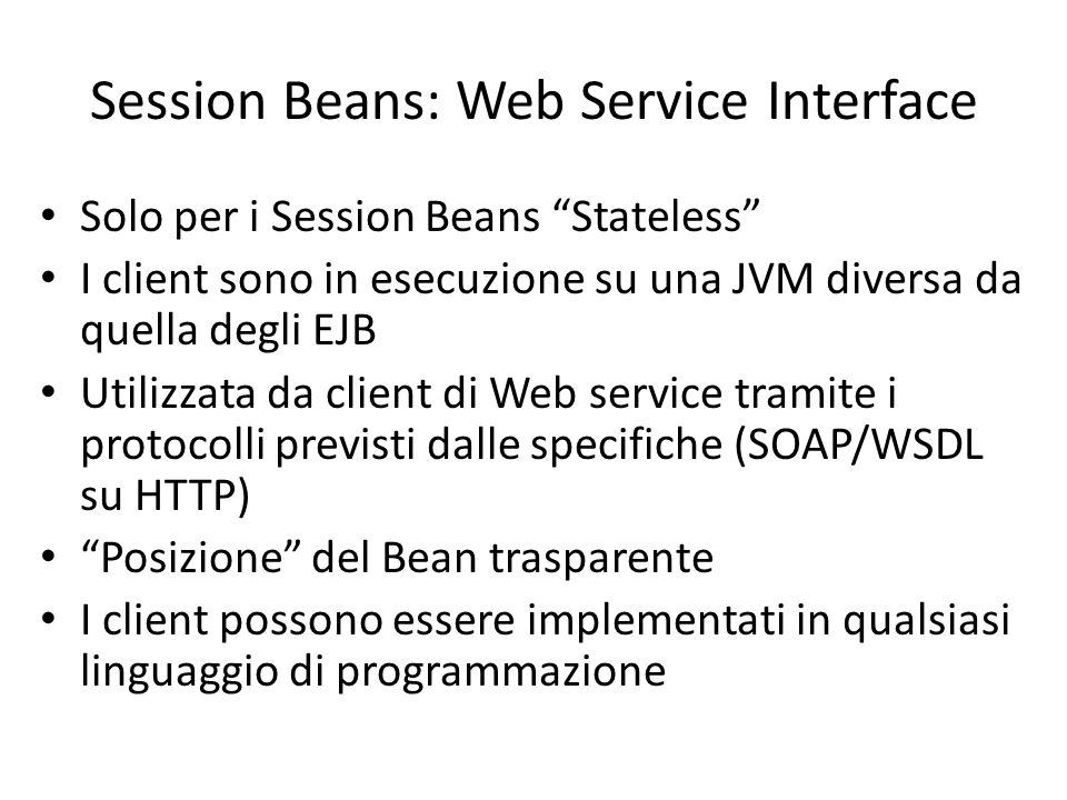 Session Beans: Web Service Interface