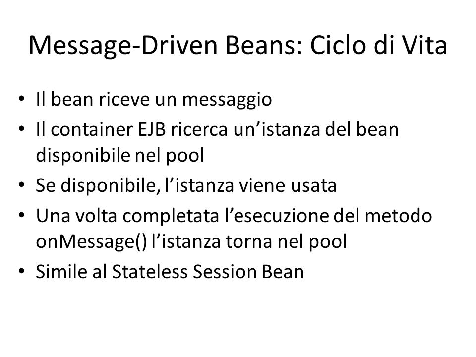 Message-Driven Beans: Ciclo di Vita
