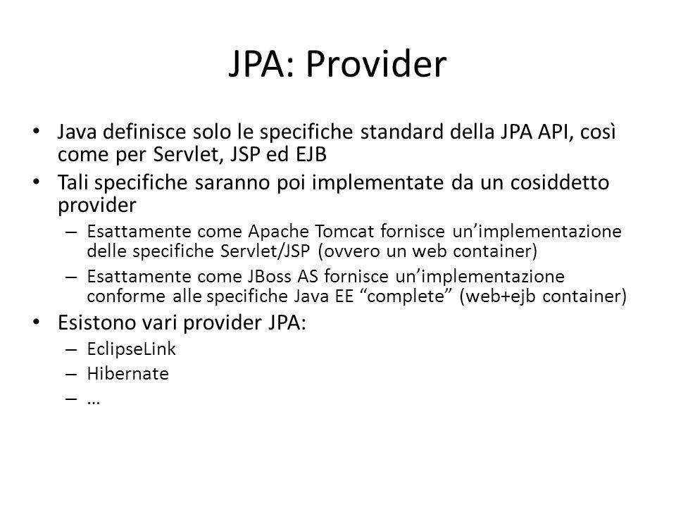 JPA: Provider Java definisce solo le specifiche standard della JPA API, così come per Servlet, JSP ed EJB.
