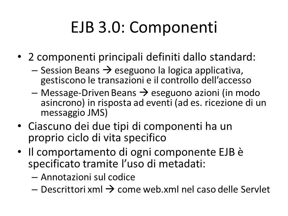 EJB 3.0: Componenti 2 componenti principali definiti dallo standard: