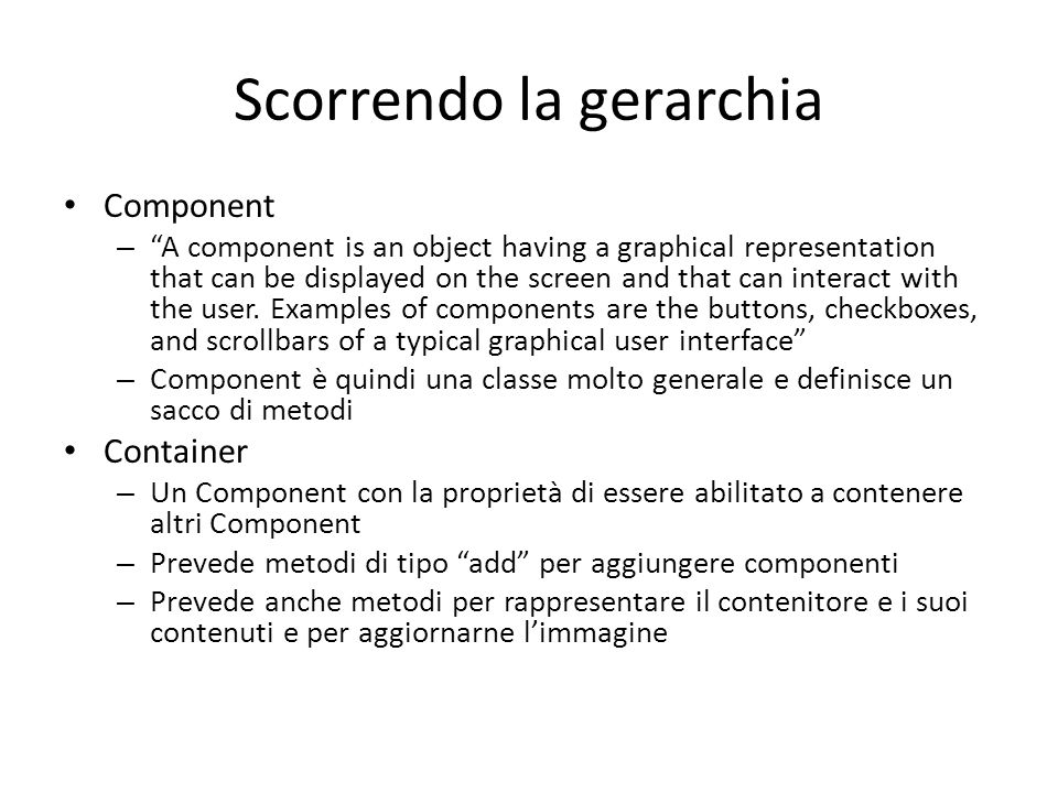 Scorrendo la gerarchia