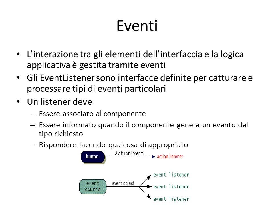 Eventi L'interazione tra gli elementi dell'interfaccia e la logica applicativa è gestita tramite eventi.